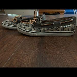 Sperry Leopard Sequin Bahama Skimmer (Sz 5 / 7)